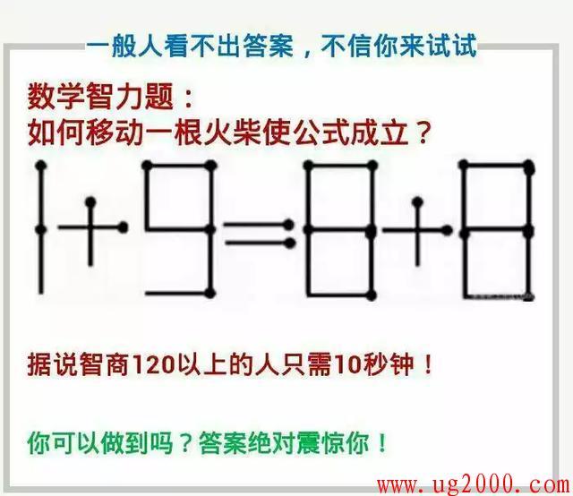 智力测试:移动火柴棍,10秒钟能做出来的,智商超120!