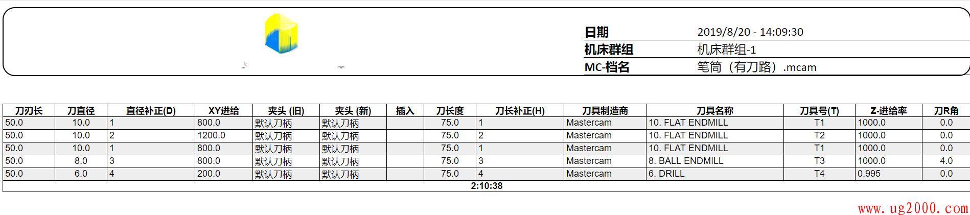 mastercam2020程序单,刀具清单,SetupX+_2020